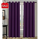 H.Versailtex Blackout Thermal Insulated Room Darkening Winow Treatment Extra Long Curtains / Drapes,Grommet Panels (Set of 2,52 by 96 - Inch,Solid Plum Purple)