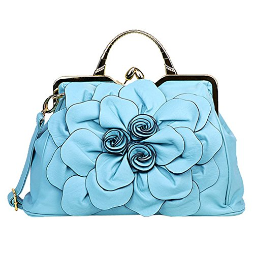 Ruiatoo Women's Handbags 3D Flower Satchel Bags Formal Party Wedding Tote Purses with Detachable Shoulder Strap Light Blue (Blue Flower Satchel)