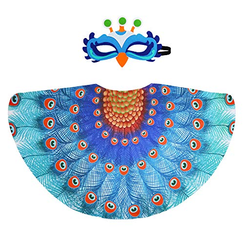 Fairy Peacock Costumes for Kids Girls Bird Wings Feathered with Mask Accessory for Princess Dress Up Party Favors (#2 Blue)]()