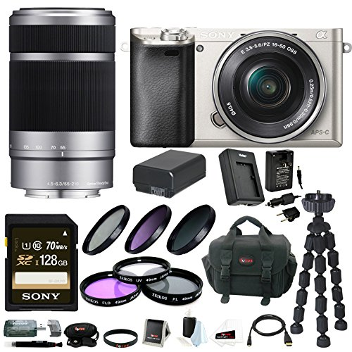 Sony Alpha a6000 24.3 MP Interchangeable Lens Camera Bundle with 16-50mm Power Zoom Lens, Sony 55-210mm f/4.5-6.3 Telephoto Lens and Accessories (22 Items)