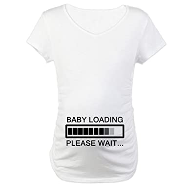 2fa07801a CafePress Baby Loading Please Wait Cotton Maternity T-shirt, Cute & Funny  Pregnancy Tee