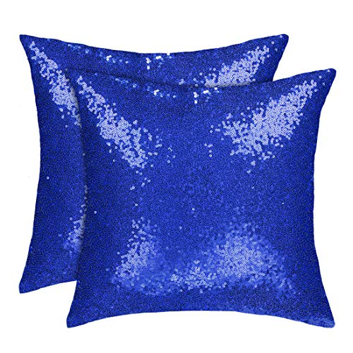 uxcell Pack of 2,Sequin Throw Pillow Covers,Shiny Sparkling Comfy Satin Cushion Covers,Decorative Pillowcases for Party/Christmas/Thanksgiving/New Year,16