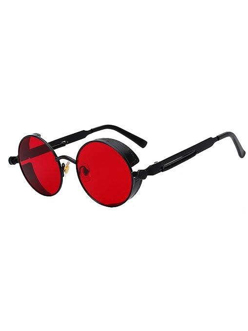 hibote Vintage Rondes Steampunk Lunettes de soleil UV400 Unisex Color 9 6F5t7R