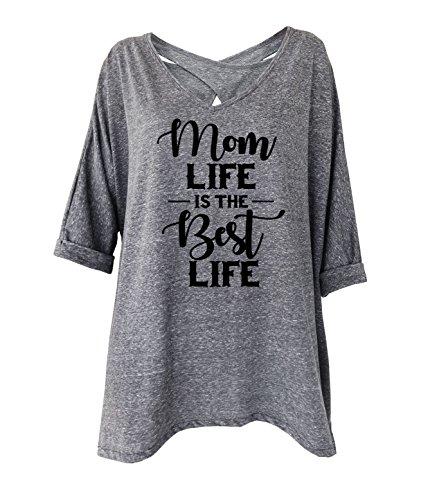 TeeMixed Mom Life Is The Best Life Women Cross Back Loose-Fit Flowy T-Shirt (Life Cross)