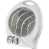 Optimus H-1322 Portable 2-speed Fan Heater with Thermostat, New, 3 Heat Settings (750 and 1500 Watts) 5 Position Function Switch (Off, Fan, Lo, Hi)