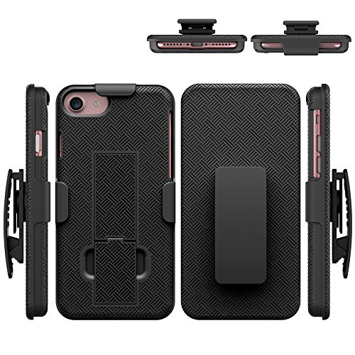 Price comparison product image iPhone 7 Case,  HLCT Holster Combo Case with Kickstand and Swivel Belt Clip for Apple iPhone 7 4.7 inch (Black)