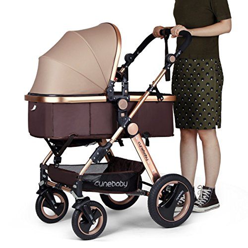 Infant Baby Stroller for Newborn and Toddler - Cynebaby Convertible Bassinet Stroller Compact Single Baby Carriage Toddler Seat Stroller Luxury Pram Stroller add Cup Holder Footmuff and Stroller Tray