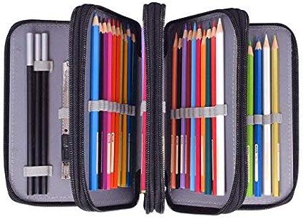 Estuche Oxford con 4 bolsillos interiores, con gran capacidad, estuche para lápices, pinceles, lápices, estuche para niños y adultos, color Negro 19.5 x 12.5 x 8 cm(LxBxH): Amazon.es: Oficina y papelería