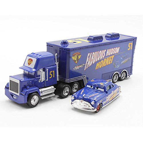 Disney Pixar Car Mack No.51 Fabulous Hudson Hornet Hauler Truck Toy Car 1:55 New (Original Trailer For Halloween)