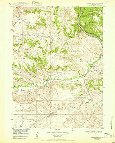 YellowMaps Herman Ranch WY topo map, 1:24000 Scale, 7.5 X 7.5 Minute, Historical, 1951, 26.9 x 21.6 in - Tyvek ()