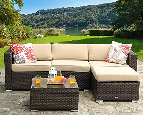 (PHI VILLA Outdoor Rattan Sectional Sofa- Patio Wicker Furniture Set (5-Piece, Beige))