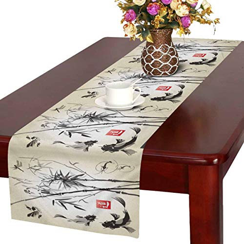 InterestPrint Oriental Ink and Wash Painting Bamboo Drangonfly and Koi Fish Table Runner Cotton Linen Cloth Placemat for Office Kitchen Dining Wedding Party Banquet 16 x 72 Inches