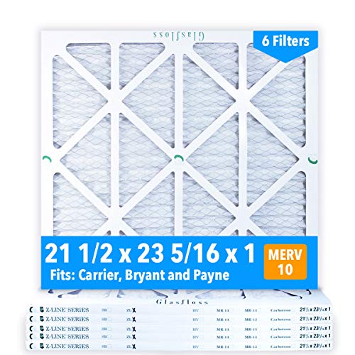 Glasfloss 21-1/2 x 23-5/16 x 1 MERV 10 Air Filters, Pleated, Made in USA (Case of 6) Fits Listed Models of Carrier, Bryant & Payne, Removes Dust, Pollen & Many Other Allergens.