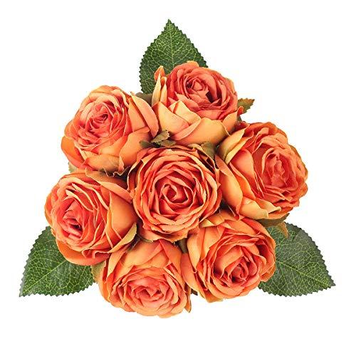 Louiesya Artificial Flowers Bouquet Silk Roses 7 Flower Heads Fake Flowers Bridal Wedding Bouquet for Home Garden Party Floral Arrangements Floral Table Centerpieces Kitchen Party Decor DIY (Orange)