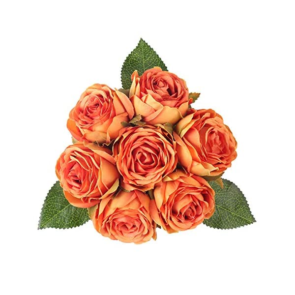 Louiesya Artificial Flowers Bouquet Silk Roses 7 Flower Heads Fake Flowers Bridal Wedding Bouquet for Home Garden Party Floral Arrangements Floral Table Centerpieces Kitchen Party Decor DIY (Orange)