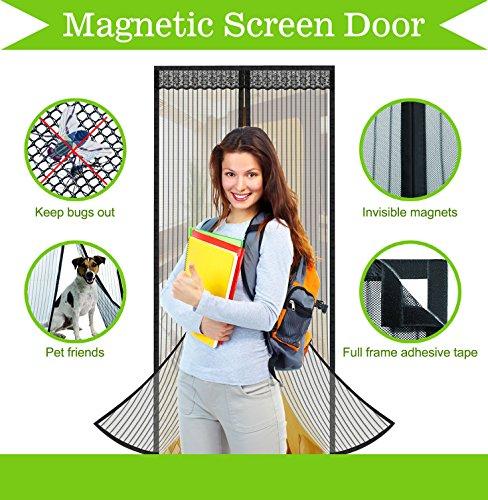 Magnetic Screen Door, YongCheng 34x82inch Black Polyester Mesh with 32 Built in Magnets & 2 Gravity Sticks, Full Frame Velcro Door Mesh Curtain for sliding glass door 32 x 80/french doors fiberglass -