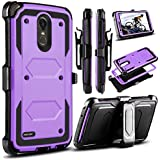 LG Stylo 3 Case, LG Stylus 3 Case, LG Stylo 3 Plus 2017 Case, Venoro Heavy Duty Shockproof Protection Case Cover with Swivel Belt Clip and Kickstand for LG LS777/MP450/M430 (Light Purple)
