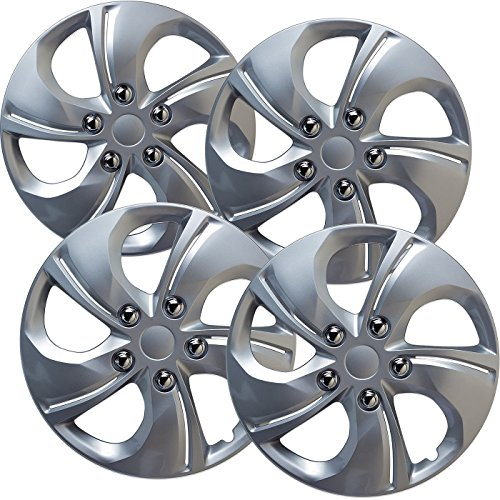 OxGord Hubcaps for 15 inch Standard Steel Wheels (Pack of 4) Wheel Covers - Snap On, Silver 1990 Suzuki Sidekick Wheel