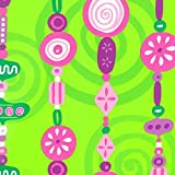 Hot Pink Lime Purple GARLAND BEADS CANDY Gift Wrap Paper - 16 Foot Roll