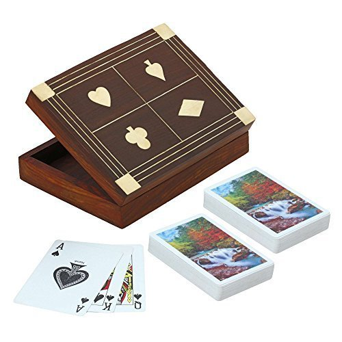 Wooden Box for Holding 2 Sets of Playing Cards Deck With Brass Inlay Decoration of Club Diamond Heart and Spade]()