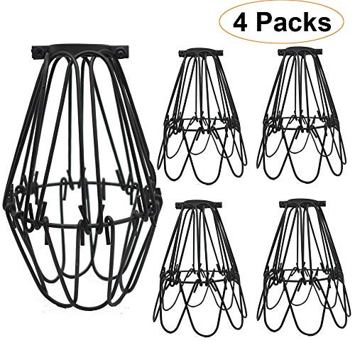 Metal Lamp Cage, Pendant Light Shade, Adjustable Bulb Guard, Ceiling Fan Light Covers, Anti-Rust - Sturdy Bulb Cage, Hanging Light Cage for Industrial Vintage Style Lighting Fixture, 4 Packs (Medium)