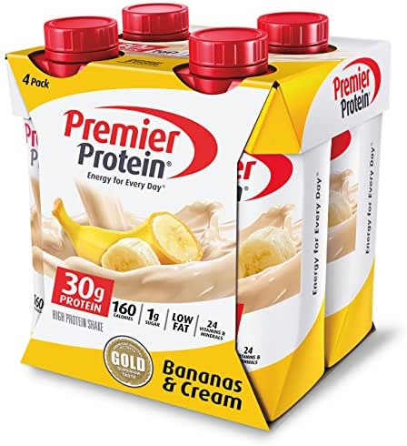 Premier Protein 30g Protein Shakes, Bananas and Cream, 11 Fluid Ounces, (Pack of 4)