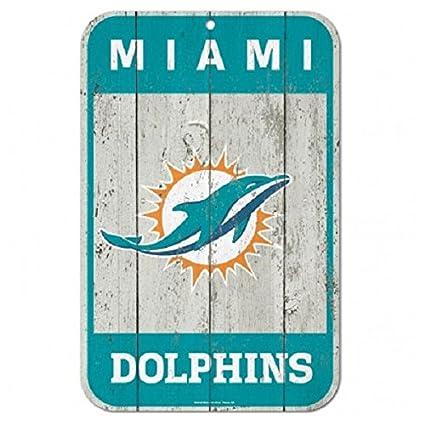 Amazon.com: NFL Miami Dolphins Distressed Madera Logo Sign ...