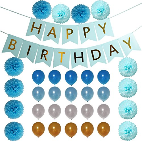 Blue Themed Birthday Party Decoration Set: 33 Pcs Birthday Supplies of Blue, Gold & White Balloons, Hanging Paper Flower Pom Poms + Happy Birthday Banner| Birthday Accessories Kit for Boys, Girls