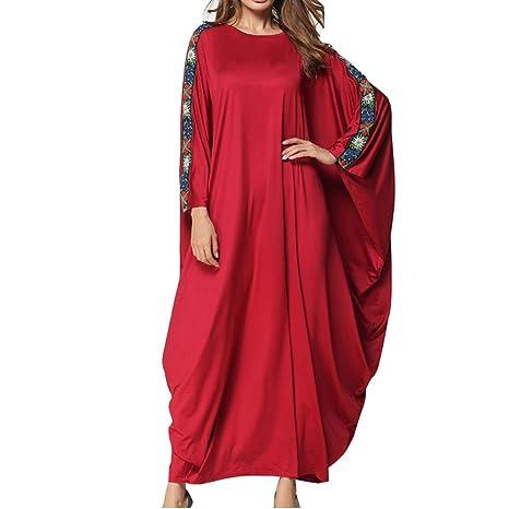 QINJLI Vestido para Mujeres, Batas de Costura en Color Liso Batas Musulmanas de Gran tamaño