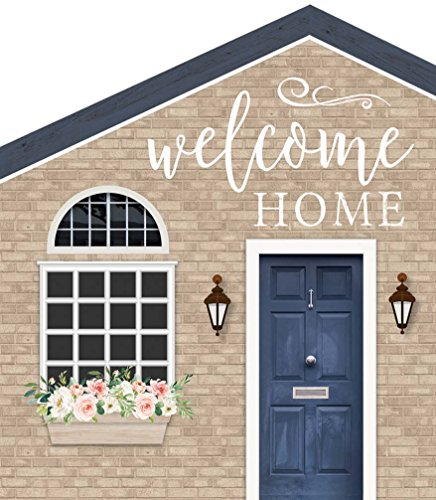 P Graham Dunn Welcome Home Brick Look House Shaped 5.5 x 6 Inch Pine Wood Block Tabletop Sign by P Graham Dunn