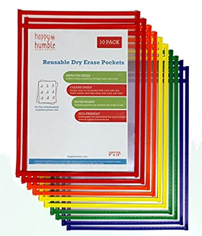 Reusable Dry Erase Pockets - Clear Easy-Load Sleeves for the Classroom, Home or Work - 9 x 12 Inches - Pack of 10, Heavy Duty Paper Holders in Assorted Colors - Ideal for - Dry Erase Classroom