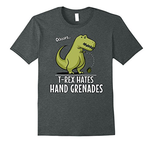 Grenade Shorts (Mens T-Rex Hates Hand Grenades Funny Dinosaur Short Arms Shirt Large Dark Heather)