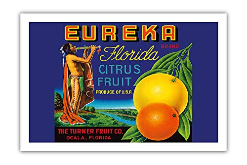 Pacifica Island Art - Eureka Brand Florida Citrus - The Turner Fruit Company - Vintage Fruit Crate Label c.1940s - Premium 290gsm Giclée Art Print 24in x 36in