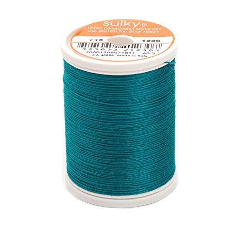Teal Cotton Thread - Sulky Of America 660d 12wt 2-Ply Cotton Thread, 330 yd, Dark Teal