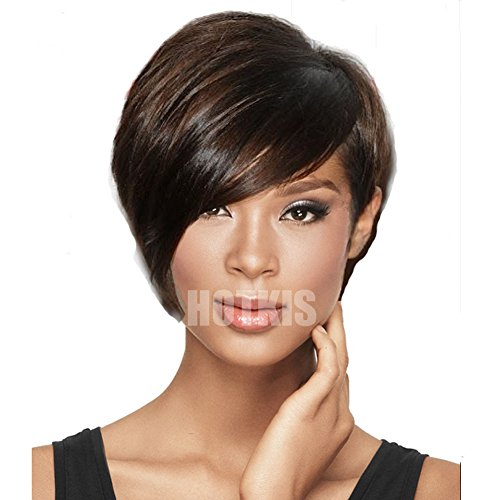 TAMAPA 100% Human Hair Short Wigs with Bangs Glueless Short Black Hair Bob Wigs Short Hairstyles for Women (Long Bangs-Natural color)