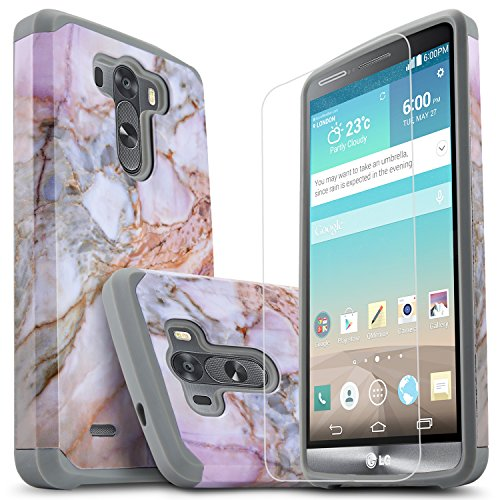 LG G3 Case, Starshop [Shock Absorption] Hybrid Dual Layers Rugged Impact Advanced Armor Phone Cover with [Premium HD Screen Protector Included] for LG G3 (Marble Pattern) (Best Phone Case For Lg G3)