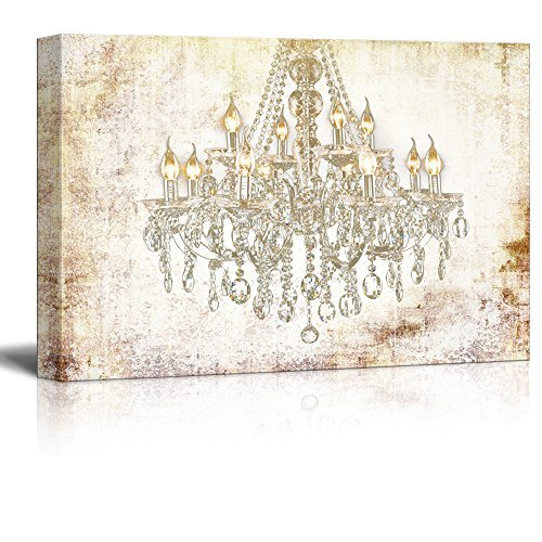 (wall26 Canvas Wall Art - Crystal Clear Chandelier on Vintage Background - Giclee Print Gallery Wrap Modern Home Decor Ready to Hang - 32x48 inches )