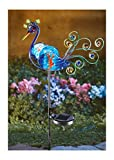 NE Shopping Decorative Multicolor Solar lighted Peacock Metal Garden Stake