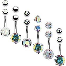 BodyJ4You 6PCS Belly Button Rings 6 Replacement Balls 14G Stainless Steel Aurora CZ Navel Body Jewelry