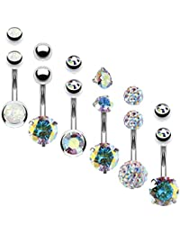 6PCS Belly Button Rings 6 Replacement Balls 14G Steel Multicolor CZ Created-Opal Navel Set
