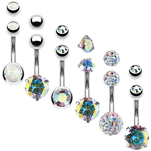Ball Navel Jewelry - BodyJ4You 6PCS Belly Button Rings 6 Replacement Balls 14G Stainless Steel Aurora CZ Navel Body Jewelry