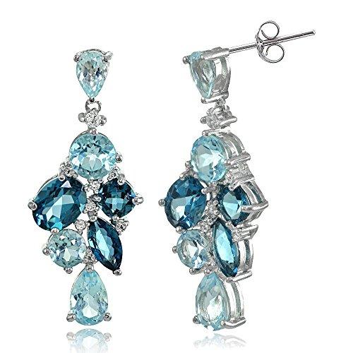 Sterling Silver London Blue, Blue, and White Topaz Cluster Tonal Dangle Earrings