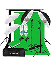 CanadianStudio Upgraded Photo Studio Continuous Umbrella 1000 watt equivalent output Lighting kit Black/White/Green High Key Muslin Backdrop Stand light Kit for Portrait Photography,Studio and Video Shooting
