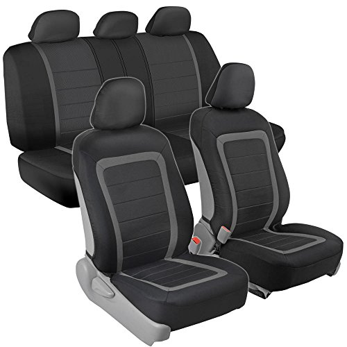 BDK OneClick Installation Car Seat Covers - Sideless for Airbag and Armrest, Front & Rear Full Interior Seat Covers (Black/Charcoal Gray)
