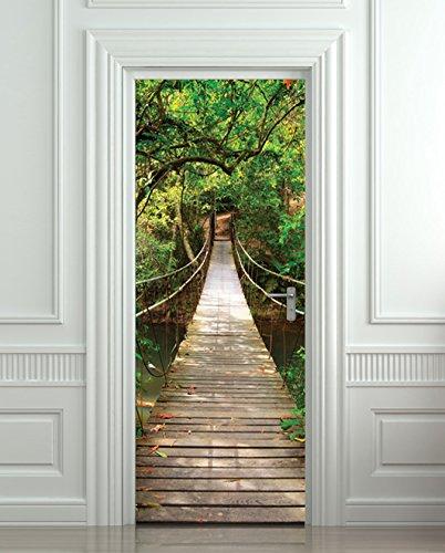 GIANT Door STICKER Rope Bridge Tropic Forest , Mural, Decole, Film  30x79u0026quot; (