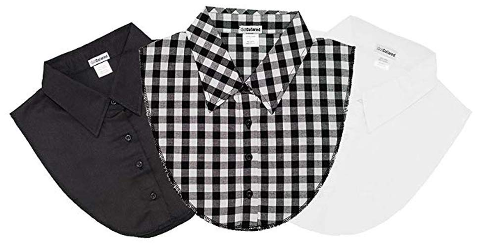 LS Parry Inc. Unisex-Adult's 3Pk Black/Gingham/White Collared Dickies by IGotCollared, Plaid, One Size by LS Parry Inc.