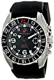 Wrist Armor Men's 140G C3 Stainless Steel Analog Display Swiss Quartz GMT Watch with Black Silicone Strap offers