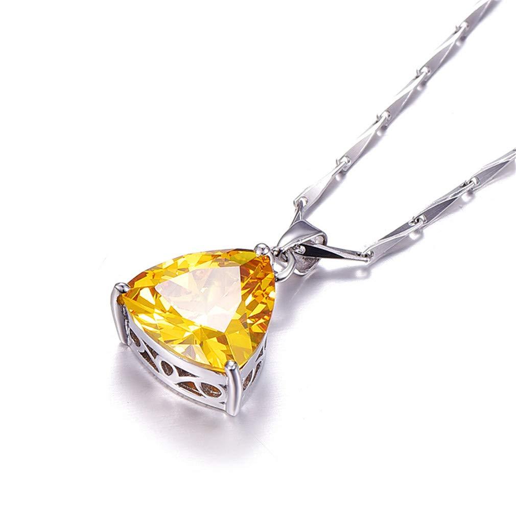9.35Ct Citrine Pendant Necklace 925 Sterling Silver Chain Geometric Triangle Necklaces/&Pendants Jewelry Collar Colar De Plata