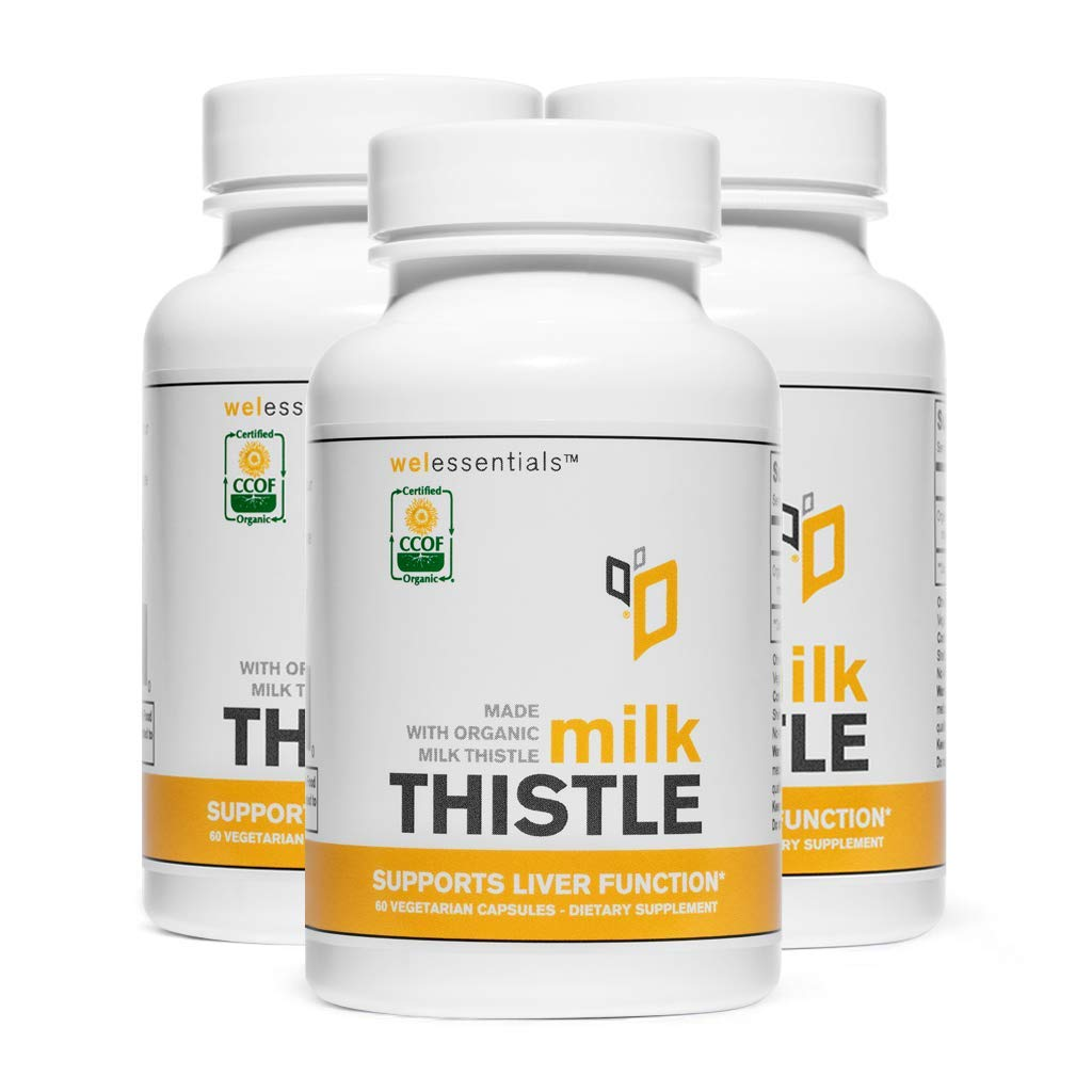 Certified Organic Milk Thistle by Welessentials 60 Capsules – 3 Pack