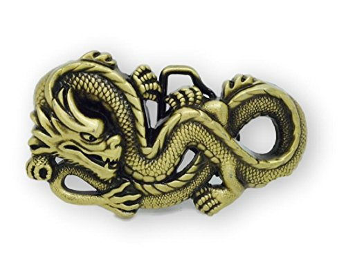 (Adult Unisex 3D Ancient Chinese Dragon Novelty Belt Buckle Gold)